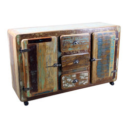Retro Sideboard on Wheels - Retro Sideboard on Wheels. Another Tres Amigos Exclusive! Solid wood, Heavy, Recycled and Truly One of a Kind! This sideboard has 2 cabinet doors and 3 drawers to help you keep Everything organized and ready to access and has wheels for easy movement. Each Piece is a Beautiful Unique Piece of Art! No two items are ever the same, expect some variations in color, it Only adds to their charm and originality!