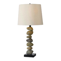 None - Cernan 29-inch High With Stone Finish Table Lamp - This lovely stone table lamp brings a touch of the outdoors right into the middle of your home. Simple and elegant, it creates a warm atmosphere with its cream shade, while the unique stone-covered pillar makes for a surprisingly powerful design effect.