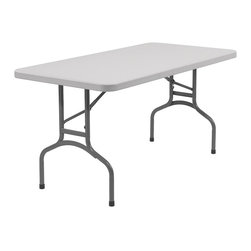 National Public Seating - Rectangular Blow Molded Folding Table - You want reliable style when preparing for any event.  The fold out legs, and light-weight material allow for an effortless set up and take down.  This easy to clean plastic table even comes with 5 year manufacturer's warranty, for added peace of mind.  This 60-inch outdoor/indoor banquet table features the latest materials in surface and framing for ultimate durability.  Are you looking for a lightweight, yet durable folding table? * Lightweight and durable. 1.75 in. thick lightly spotted grey top. Grey textured powder coated wishbone shaped legs. Gravity slide lock and snap lock for extra stability. Lightly textured surface to resist scratching yet smooth enough to write on. Warranty: Five years for material. Speckled gray plastic top and gray textured frame. Weight capacity: 1000 lbs.. Small: 60 in. L x 30 in. W x 29.5 in. H. Large: 72 in. L x 30 in. W x 29.5 in. HThe perfect solution for your banquet and cafeteria use - indoor, outdoor, and other application that calls for affordable, lightweight, weather resistant and highly durable folding tables.