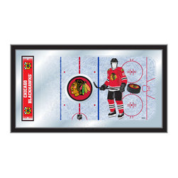 """Holland Bar Stool - Holland Bar Stool Chicago Blackhawks Hockey Rink Mirror - Chicago Blackhawks Hockey Rink Mirror belongs to NHL Collection by Holland Bar Stool The perfect way to show your team pride, our hockey rink mirror displays your team's symbols with a style that fits any setting.  With it's simple but elegant design, colors burst through the 1/8"""" thick glass and are highlighted by the mirrored accents.  Framed with a black, 1 1/4 wrapped wood frame with saw tooth hangers, this 15""""(H) x 26""""(W) mirror is ideal for your office, garage, or any room of the house.  Whether purchasing as a gift for a recent grad, sports superfan, or for yourself, you can take satisfaction knowing you're buying a mirror that is proudly Made in the USA by Holland Bar Stool Company, Holland, MI.   Mirror (1)"""