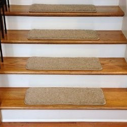 """Dean Flooring Company - Dean Premium Serged DIY Carpet Stair Treads 27"""" x 9"""" Barley 70 Oz (13) - Dean Premium Serged DIY Carpet Stair Treads 27"""" x 9"""" Barley 70 Oz with Double-Sided Tape Included : Quality, Stylish Carpet Stair Treads by Dean Flooring Company. Extend the life of your high traffic hardwood stairs. Reduce slips/increase traction (treads must be properly secured to your stairs). Cut down on track-in dirt. Great for pets and pet owners. Luxuriously soft 70 ounce stain and spill resistant PLUSH carpeting. Set includes 13 carpet stair treads PLUS one roll of double-sided carpet tape for easy, do-it-yourself installation. Edges of each tread are finished (serged) with attractive color matching yarn No bulky fastening strips. You may remove your treads for cleaning and re-attach them when you are done. Add a touch of warmth and style to your stairs today with new stair treads from Dean Flooring Company!"""