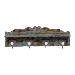 Urban Trends Collection - Distressed Blue Wooden Wall Hook - Accented with subtle heart hooks, this distressed blue wooden wall hook is a great way to give your home a touch of the rustic. This beautiful wall hook gives your hats and coats a place to hang.