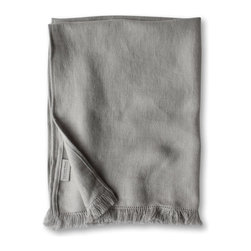 The Linen Works - Fringe Linen Hand Towel -  two colors, Pale Grey - Richly textured and generously sized, our Motte hand towels are perfect for kitchen or bath. Comes with its own handy little loop for convenient placement. Available in Chalk and Pale Grey