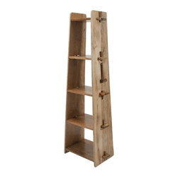 iMax - Bakkar Wood Shelf - Lean and clean: A wood shelf takes tusk-and-groove construction to another level.
