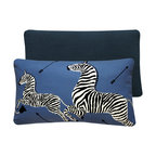 Chloe and Olive - Blue Zebra Scalamandre Throw Pillow in 16x26 Lumbar, 16x26 Left Facing - This iconic, prancing print by Scalamandre will bring vivacity and glamour to a couch, bed or chair. With a stunning pair of zebras on each throw pillow, the exquisite combination of blue, black and white will be a favorite for many seasons to enjoy. Scalamandre is a well known manufacturer of the finest quality fabrics for over 80 years.