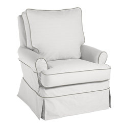 Custom Hayes Glider, White Twill With Pewter Linen Piping - The Hayes glider comes in many colors, but I like this white one with pewter piping. It doesn't look like a baby glider, so you could stick this pretty chair in your living room without it sticking out.