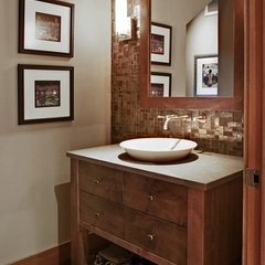 contemporary powder room by Kara Bowman