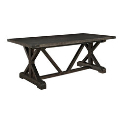 Anvil Wood Dining Table - Hammer out some great events with the Anvil modern dining table. Topped with fiberboard covered in a sheet of metal and solid pine wood base, Anvil transmits fierce flashes from the past, while envisioning a more peaceful future ahead.