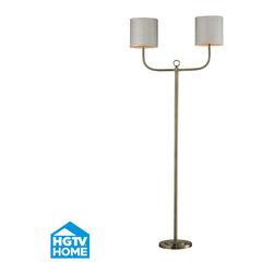 Dimond Lighting - Dimond Lighting HGTV257BR Hgtv Home 2 Light Floor Lamps in Antique Brass - Double Armed Floor Lamp in Antique Brass Finish