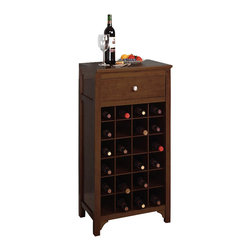 Winsome - Winsome Regalia 24-Bottle Wine Cabinet in Antique Walnut - Winsome - Wine Racks - 94638 - The Regalia wine cabinet has a stately traditional feel to it that has widespread appeal for more traditional decors. A rich walnut finish complements the Regalia's arched apron inset paneling and antiqued brass handle pull while the capacity to safely retain twenty four bottles is expanded by a single pull drawer for any and all accessories.