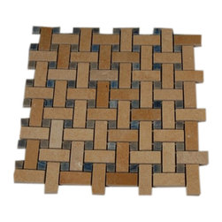"Basket Weave Jerusalem Gold Marble Mosaic Tile With Blue Macauba Dot - BASKET WEAVE JERUSALEM GOLD WITH BLUE MACAHUBA DOT GLASS TILES A beautiful mosaic made consisting of Jerusalem Gold and Blue Macahuba in a pleasing basket weave pattern. This is genuine BLUE MACAHUBA, one of the most rare materials there are, contrasted fantastically with jerusalem gold.Each piece fits into the next like a perfect puzzle. Its stunning design with its intricate basket weave pattern will bring warmth and a natural ambience to your home. The mesh backing not only simplifies installation, it also allows the tiles to be separated which adds to their design flexibility. Chip Size: Line: 3/4"" x 2"" Dot: 1/2"" x 1/2"" Color:Jerusalem Gold, Blue Material: Jerusalem Gold, Macahuba Blue Finish: Polished Sold by the Piece - each piece covers a 1 square foot area Sheet Size: 12"" x 12"" Thickness: 8mm"