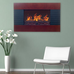 Northwest - Northwest Mahogany Electric Fireplace Wall Mount Brown - 80-EF422S - Shop for Fire Places Wood Stoves and Hardware from Hayneedle.com! For those that crave the rustic warmth of a woodburning fireplace but enjoy the conveniences of modern life the Northwest Mahogany Electric Fireplace Wall Mount is an ideal addition to their contemporary homes. This beautiful fireplace mounts easily with included hardware making it easy to add warmth and style to your favorite room. The realistic logs recreate the simple charm of a classic fire place while the mahogany paneling offers an updated take on rustic style. The included remote allows complete control of flame brightness and two different heat settings.About NorthwestNorthwest electic fireplaces allow anyone to bring warmth and style into their home. Crafted with precision and care for user convenience all Northwest fireplaces allow high quality flame effects and superb heat. Northwest fireplaces are available in a variety of shapes sizes and styles making it easy to add a bold statement to any room.Create a bold style statement in your home or office with a Northwest electronic fireplace. Available in a variety of shapes sizes and styles to ensure a perfect fit for any room.