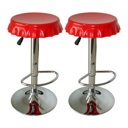 New Buffalo Corp. - Amerihome 2-Piece Soda Cap Bar Stool Set - Add a bit of whimsy to your kitchen, bar, game room, basement, or shop with the Amerihome 2-Piece Soda Cap Bar Stool Set.