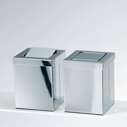 Modo Bath - Harmony Stainless Steel Waste Basket with Revolving Cover - Harmony 211 Table Paper Waste Basket with Revolving Cover in Polished Stainless Steel,  Typically Used On A Table, Available In Polished Stainless Steel or Mat Stainless Steel, Includes Revolving Cover, Made in Germany