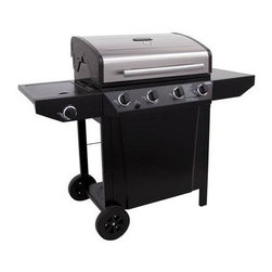 "Char-Broil - Char-Broil Thermos 480 Sq. in. 48000 BTU 4-Burner Gas Grill - Char-Broil C-45G3 four burner 48 000 BTU gas grill with 10 000 BTU lidded side burner; 480 square inches of primary cooking on porcelain-coated grates plus 205 square inches of secondary cooking on porcelain-coated swingaway; Large painted metal side shelves offer lots of workspace; Stainless steel insert lid adds style to this model; Electronic ignition system offers a reliable spark with every push; Temperature gauge mounted in lid helps in heat control; Two 8"" wheels offer easy portability; Stainless Steel/Black finish."