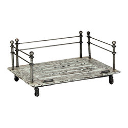"Cast Iron ""Vintage Industrial"" Styled Pet Bed Frame, Small - If you appreciate the casual appeal of the rustic aesthetic, this Vintage Industrial pet bed is definitely for you! Reminiscent of historic designs created during the American Industrial Revolution, this elevated dog bed is designed around a modern fusion of solid distressed wood and cast-iron elements."