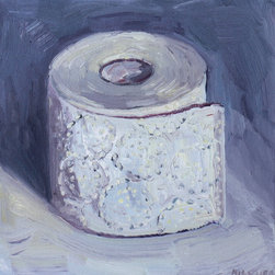 """""""Toilet Paper Roll #1, Painting"""" - This the perfect painting for your bathroom! This is my first of a new series of paintings designed for the bathroom."""