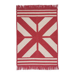 Colonial Mills, Inc. - Sedona, Red Rug, Sample Swatch - A bold, graphic addition to any room, this fringed rug is fabricated from braided polyester and wool for an extra touch of warmth. Made in an old New England mill town and available in a great red color, this reversible braided design will be a welcome accent to any room.