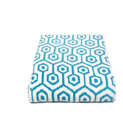 in2green - Eco Geo Throw, Aqua - Update any space with this modern geometric design. Available in three bold color combinations.