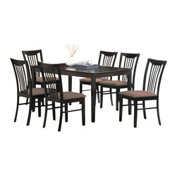 "Casa Blanca - 7-Piece Avalon Collection Espresso Finish Wood Dining Table Set - 7-Piece Avalon collection espresso finish wood dining table set with slat back chairs and fabric seats. This set includes the table with tapered legs and 6 side chairs upholstered with fabric seats and slat backs. Table measures 36"" x 60"" X 30"" H. Chairs measure 38"" H to the back. Some assembly required."
