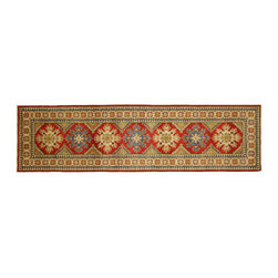 Manhattan Rugs - New Unique Super Kazak Runner 3x10 Hand Knotted Oriental Red & Ivory Rug H3365 - Kazak (Kazakh, Kasak, Gazakh, Qazax). The most used spelling today is Qazax but rug people use Kazak so I generally do as well.The areas known as Kazakstan, Chechenya and Shirvan respectively are situated north of� Iran and Afghanistan and to the east of the Caspian sea and are all new Soviet republics.�� These rugs are woven by settled Armenians as well as nomadic Kurds, Georgians, Azerbaijanis and Lurs.� Many of the people of Turkoman origin fled to Pakistan when the Russians invaded Afghanistan and most of the rugs are woven close to Peshawar on the Afghan-Pakistan border.There are many design influences and consequently a large variety of motifs of various medallions, diamonds, latch-hooked zig-zags and other geometric shapes.� However, it is the wonderful colours used with rich reds, blues, yellows and greens which make them stand out from other rugs.� The ability of the Caucasian weaver to use dramatic colours and patterns is unequalled in the rug weaving world.� Very hard-wearing rugs as well as being very collectable