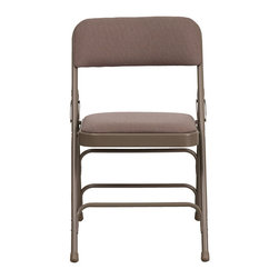 Flash Furniture - Hercules Series Curved Triple Braced & Quad Hinged Beige Fabric Upholstered Meta - The Triple Braced Hercules Series Folding Chairs are our best folding chairs ever. When in need of temporary seating this heavy duty beige metal frame chair with beige fabric padded seat and back is perfect. This portable folding chair can be used for Parties, Graduations, Sporting Events, School Functions and in the Classroom. This chair will be the perfect addition in the home when in need of extra seating to accommodate guests. The chair will not take up anywhere near as much space as chairs that cannot fold when it comes time to clean up. This economically priced chair will endure some heavy usage with an 18-gauge steel frame, triple braced and leg strengthening support bars.