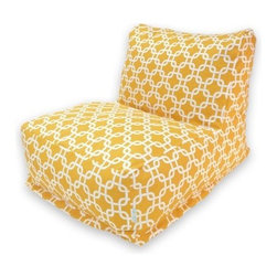 Majestic Home Goods Links Outdoor Bean Bag Chair Lounger - The Majestic Home Goods Links Outdoor Bean Bag Chair Lounger gives any space a comfy update. This chair features a fill of soft, polystyrene beads and a charming outer liner with a link inspired pattern. Its removable cover is weather resistant, UV tolerant, and machine washable. Eco-friendly, this chair features beads that are 50% recycled polystyrene. Indoors or out, you can kick back and lounge in comfort.