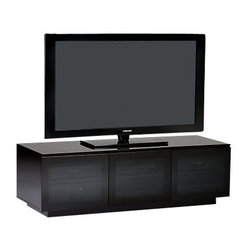 BDI - Mirage TV Stand 8227 - Low and sleek, this contemporary TV stand does more than support up to 150 pounds of your must-have electronics. It's on wheels for mobility and the adjustable shelving allows lots of storage. Then close the doors and hide it all away.