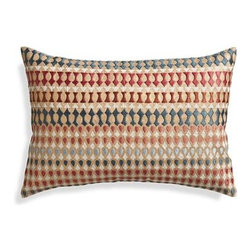 """Farrah 18""""x12"""" Pillow with Feather-Down Insert - Inspired by Indian jewels, this rich mix of gold block-printing and gem-colored embroidery embellishes sofa or chair with regal geometry."""