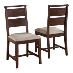 Modus Furniture International - Portland Solid Wood Dining Chair (set of 2) - Transitional in design but modern in appearance, the Portland collection adds subtle details and heavy solid wood construction to a Bauhaus-like form.  A combination of mid-century and Asian styles, the rectangular table is supported by a recessed apron with thick splayed legs and a trestle-style base.  Dining chairs are designed with wide-rung ladder backs, two-way stretchers, and a subtle overhang between the top cross and vertical posts.  The sideboard features asymmetrical, integrated pulls cut in a rounded rectangle shape and accented with oil rubbed bronze metal backings.