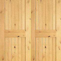 "S/W-96 Interior Knotty Alder Wood 2 Panel V-Grooved Double Door - SKU#    S/W 96-2Brand    AAWDoor Type    InteriorManufacturer Collection    Interior Knotty Alder DoorsDoor Model    Door Material    WoodWoodgrain    Knotty AlderVeneer    Price    380Door Size Options    2(15"") x 80"" (2'-6"" x 6'-8"")  $02(18"") x 80"" (3'-0"" x 6'-8"")  +$202(24"") x 80"" (4'-0"" x 6'-8"")  +$1602(28"") x 80"" (4'-8"" x 6'-8"")  +$1802(30"") x 80"" (5'-0"" x 6'-8"")  +$1802(32"") x 80"" (5'-4"" x 6'-8"")  +$1802(36"") x 80"" (6'-0"" x 6'-8"")  +$2002(15"") x 96"" (2'-6"" x 8'-0"")  +$1402(18"") x 96"" (3'-0"" x 8'-0"")  +$1602(24"") x 96"" (4'-0"" x 8'-0"")  +$3202(28"") x 96"" (4'-8"" x 8'-0"")  +$3802(30"") x 96"" (5'-0"" x 8'-0"")  +$3802(32"") x 96"" (5'-4"" x 8'-0"")  +$3802(36"") x 96"" (6'-0"" x 8'-0"")  +$400Core Type    SolidDoor Style    Door Lite Style    Door Panel Style    2 Panel , V-GroovedHome Style Matching    Mediterranean , Pueblo , Prairie , Suburban , LogDoor Construction    Engineered Stiles and RailsPrehanging Options    Prehung , SlabPrehung Configuration    Double DoorDoor Thickness (Inches)    1 3/8 , 1 3/4Glass Thickness (Inches)    Glass Type    Glass Caming    Glass Features    Glass Style    Glass Texture    Glass Obscurity    Door Features    Door Approvals    Door Finishes    Door Accessories    Weight (lbs)    680Crating Size    25"" (w)x 108"" (l)x 52"" (h)Lead Time    Slab Doors: 7 daysPrehung:14 daysPrefinished, PreHung:21 daysWarranty    1 Year Limited Manufacturer WarrantyHere you can download warranty PDF document."