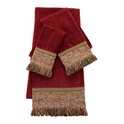 Sherry Kline - Sherry Kline Red Swirled Paisley Embellished 3-piece Towel Set - These fashionable towels are great addition to your bathroom d�cor. The three-piece Sherry Kline decorative towels set features a cotton bath,hand,and fingertip towel,each with embellishments in red and gold colors.