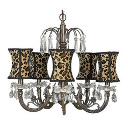 Mocha 5-Arm Waterfall Chandelier, Cheetah Shades - Create the purr-fect space for the diva at home with this animal print light fixture. It features teardrop crystals on each arm and provides lots of glam, style and light.