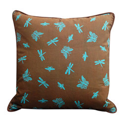 Square Insect Pillow - Each handcrafted pillow features an explosive display of swarming insects in bright aqua against a chocolate brown.  Pillows include a feather down insert.