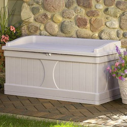 Suncast - Suncast DB9500 Mikanda 99 Gallon Deck Box with Seat Multicolor - DB9500 - Shop for Sheds and Storage from Hayneedle.com! Reliable outdoor storage. The Mikanda Storage Deck Bench is made of a durable resin-vinyl material that endures the harsh treatments of extreme weather as well as everyday wear and tear. This bench offers a large amount of storage perfect for lawn and garden tools. Place this bench near your picnic area for additional seating for family and friends. The lock will keep your items secure and away from children. The taupe-colored Mikanda Storage Deck Bench assembles in only five minutes. Plus because it's made of vinyl it's maintenance free. The Mikanda Storage Deck Bench brings durable secure storage and additional seating to your home.