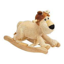"Charm Company - Leonard Lion Rocker - The Leonard Lion Plush Rocker by the Charm Co. will melt your heart with his super soft plush body that has the feel of a baby blanket and his fuzzy mane and tail. He features cute button eyes and a soft smile. His low to the ground design is great for toddlers so they can easily climb on and off. Squeeze his ear to hear him ROAR this feature requires 2AA batteries not included. Holds up to 100 lbs. Recommended for children ages 3 and up. Strong hardwood rocker base. Natural non-toxic finish. Natural stain wooden handles. Extra soft plush body Fun sounds. Easy clean up with mild soap and water. Dimensions: Overall Height: 16"" Seat Height to Floor: 11"" Rocker Length: 25.5"" Rocker Width: 10.5""."