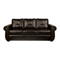 Dreamseat Inc. - Turkey Chesapeake Brown Leather Sofa - Check out this Awesome Sofa. It's the ultimate in traditional styled home leather furniture, and it's one of the coolest things we've ever seen. This is unbelievably comfortable - once you're in it, you won't want to get up. Features a zip-in-zip-out logo panel embroidered with 70,000 stitches. Converts from a solid color to custom-logo furniture in seconds - perfect for a shared or multi-purpose room. Root for several teams? Simply swap the panels out when the seasons change. This is a true statement piece that is perfect for your Man Cave, Game Room, basement or garage.