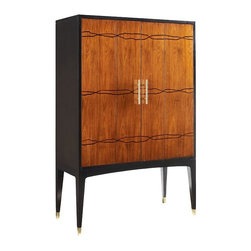 "matthewizzo.com products - Brownstone Furniture Madison Bar Cabinet 44""W x 20""D x 68""H American walnut Brass hardware and caps on legs Interior includes 3 drawers, 3 shelves and 7 individual compartments 2 to 3 week free shipping Questions and quotes interior design service at www.matthewizzo.com"