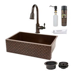 """Premier Copper Products - 33"""" Apron Tuscan Sink w/ ORB Faucet - PACKAGE INCLUDES:"""