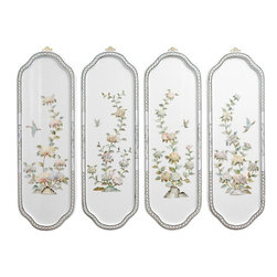 Oriental Furniture - Birds and Flowers Curved Wall Plaques - Add a touch of the East to your home decor with these elegant curving wall plaques.  Crafted by artisans in Guangdong, each of the milky white plaques is finished in a rich, clear lacquer and decorated with hand-carved mother of pearl birds and flowers.