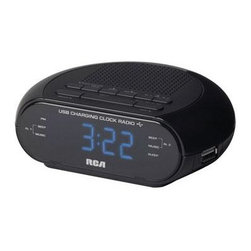 "Audiovox Accessories - Single Wake Clock Radio Charge - RCA branded Single Wake Clock Radio .6"" Blue Display USB charging This item cannot be shipped to APO/FPO addresses. Please accept our apologies."