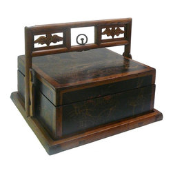 Golden Lotus - Chinese Oriental Scenery Square Wood Basket Box - Each side has its unique graphic theme.