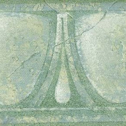 York Wallcoverings - Green White Glass Vintage Wallpaper Border - Wallpaper borders bring color, character and detail to a room with exciting new look for your walls - easier and quicker then ever.