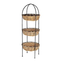 Eco Displayware - 3 Tier Round Rattan Basket Display Stand in N - 3 Tiers. Great for closet, bath, pantry, office or toy and game storage. Earth friendly. 12 in. Dia. x 28 in. H (14.66 lbs.)These natural colored baskets add warmth and charm and keep you organized.