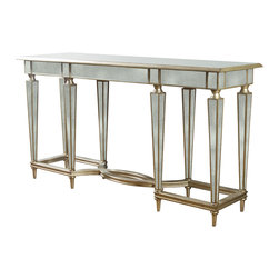 "Kathy Kuo Home - Emerson Antique Mirror Hollywood Regency Double Stretcher Console - Here's a piece to make your chateau shine. This French-inspired console table features gilt-edged antiqued mirror panels on nearly every surface, including the eight elegantly tapered legs. With a lamp on top and beautiful artwork above, it will make your entrance very ""grande dame"" indeed."