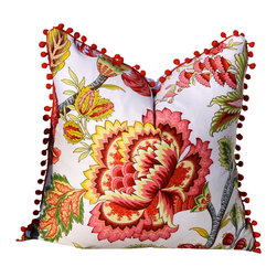 PillowFever - Cotton Pillow Cover with Flower Print and Red PomPom Trim - Pillow insert is not included!