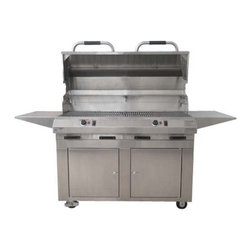 Electri-Chef - Electri-Chef 48 in. Electric Grill with Cart Multicolor - 8800-EC-1056-CB-D-48IN - Shop for Grills from Hayneedle.com! What We Like About This GrillWith the dual control function you can prepare many different types of food at the same time. The Large Dual Electri-Chef Electric Grill with Cart features the ability to maintain a temperature of 150 to 600 degrees for anything from slow roasting to searing your favorite foods. The porcelain coated grates cook food quickly and evenly for a perfect result. Use the 10 to 60 minute timer to remind you when to flip the steaks or put the vegetables on.This grill features an enormous 1056-square-inch cooking surface that accommodates enough food for an army. Use the built-in warming rack to heat up burger buns for the little touches that make your food stand out above the rest. With two fixed side shelves you can keep plenty of burgers or brats on standby to keep the grilled delights coming.Constructed from the most durable products available the Electric 48-inch Dual Control Grill with Cart is designed for a lifetime of outdoor use. The 18 gauge stainless steel construction not only looks sharp but also will withstand the abuses of the elements. Four casters allow you to relocate this grill easily to any spot on the patio and then lock two of them in place so it stays put. The lid features stay-cool handles that will maintain a low temperature even after hours of grilling so you won't burn your hands. Use the two steel doors on the cart as a closed storage area to keep your grill brushes and marinades handy.About Electri-Chef GrillsElecti-Chef Grills are designed and crafted in Temple Texas- right in the heart of barbecue country. Electri-Chef proudly makes their flameless electric grills in the U.S.A. Their expertly crafted commercial-quality products have been selected for use at resort hotels and condominiums throughout the United States. With Electri-Chef Grills customers enjoy resilient top-grade materials substantial energy savings and most importantly delectable food that's grilled to perfection time and time again.