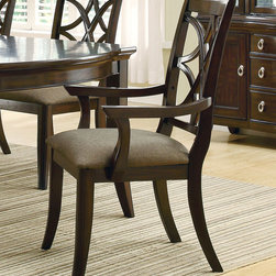 Coaster - Meredith Arm Chair, Set of 2 - Crafted from select hardwoods and birch veneers, the Meredith collection boasts a beautiful espresso finish that instantly warms with its presence. Two 14 extension leaves offer the opportunity to accommodate even more dinner guests. Durable fabric seating on the chairs provide comfort and repose. A buffet and hutch create a storage and display space to coordinate with your dining room furniture.