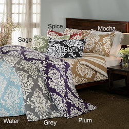 None - Havana Floral Reversible 3-piece Duvet Cover Set - This floral duvet three-piece cover set will accentuate any bedroom with its playful,bold features. This luxury set is machine washable and designed with 300-count cotton sateen. Choose from four color schemes with a tropical style.