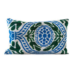 """Indigo&Lavender - 16"""" x 24"""" Silk Velvet Ikat Pillow, Blue/Green - Made from Ikat textiles that are loomed from hand-dyed silk in Uzbekistan, along Marco Polo�۪s renowned Silk Road, each pillow has been hand-sewn in Istanbul, Turkey. The goose down fill ensures extra luxury. Solid linen backing and zipper."""